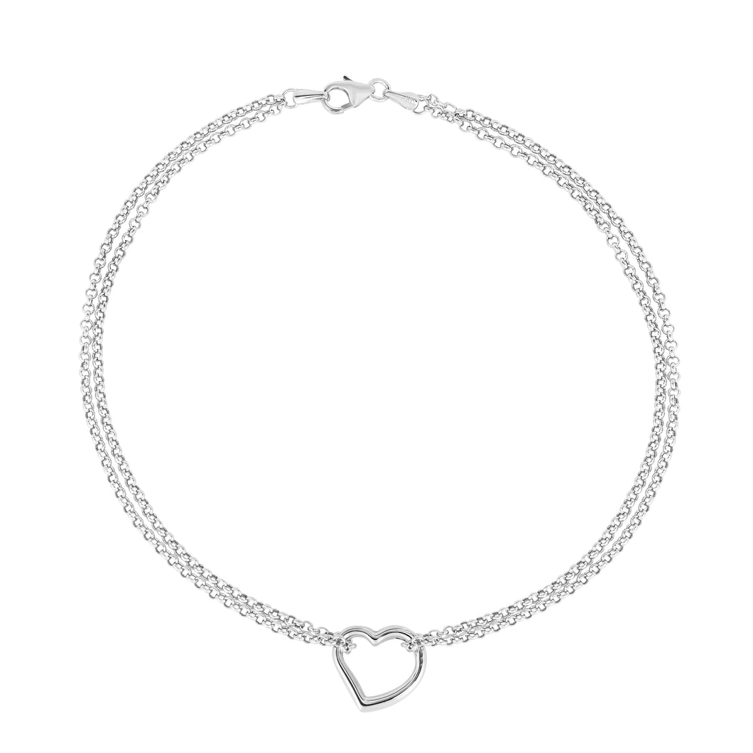 14K Yellow Gold Double Strand Chain Anklet with Open Drop Heart Charm