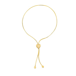 14kt 9.25 inches Yellow Gold 1mm Snake Chain Lariat Type Bracelet with 7mm Heart Element+Draw String C lasp