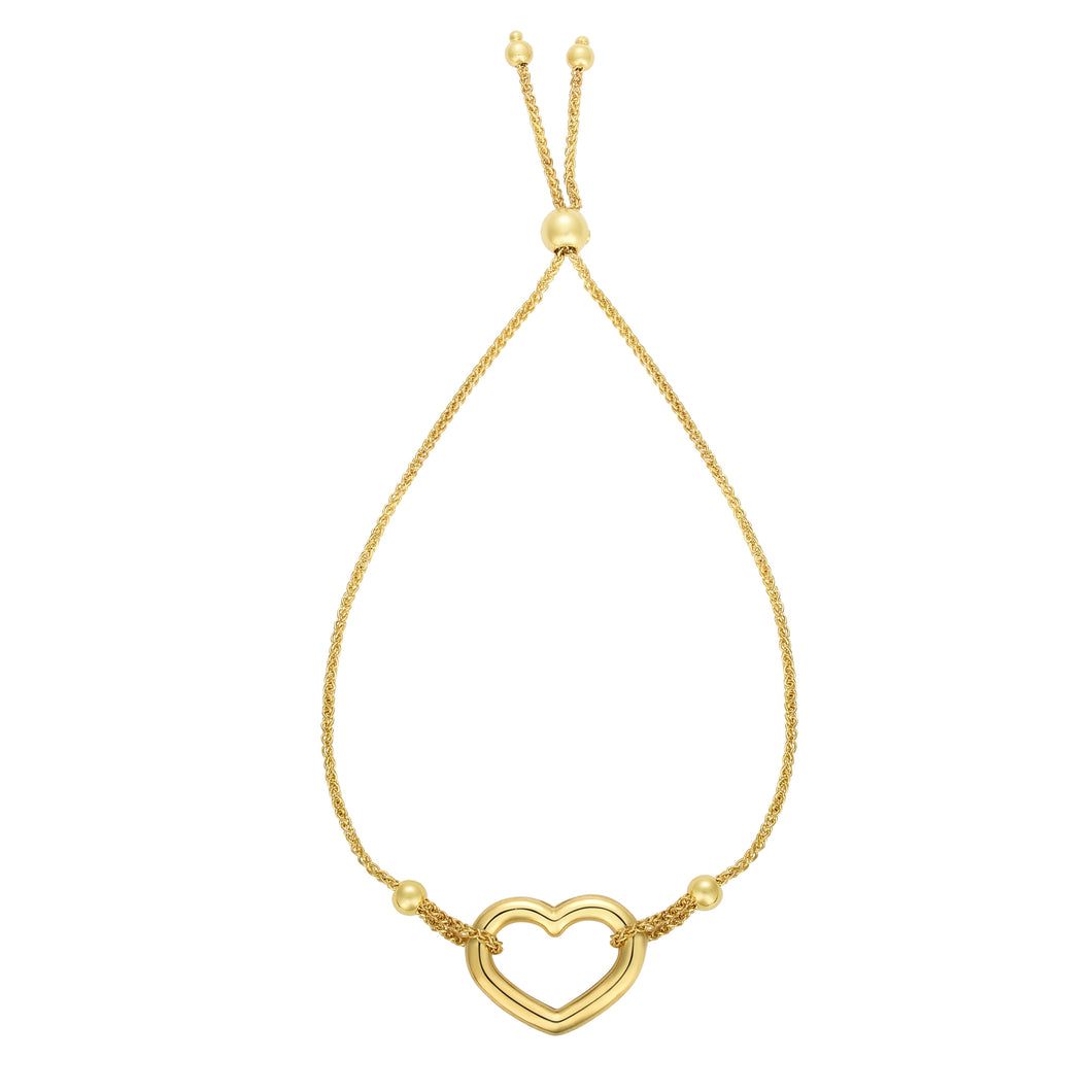 14K Gold Heart Adjustable Bracelet