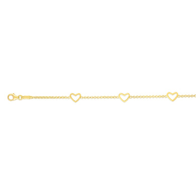 14kt Gold 6 inches Yellow Finish Element:6x5mm Shiny Fancy Stationed Heart Bracelet with Lobster Clasp