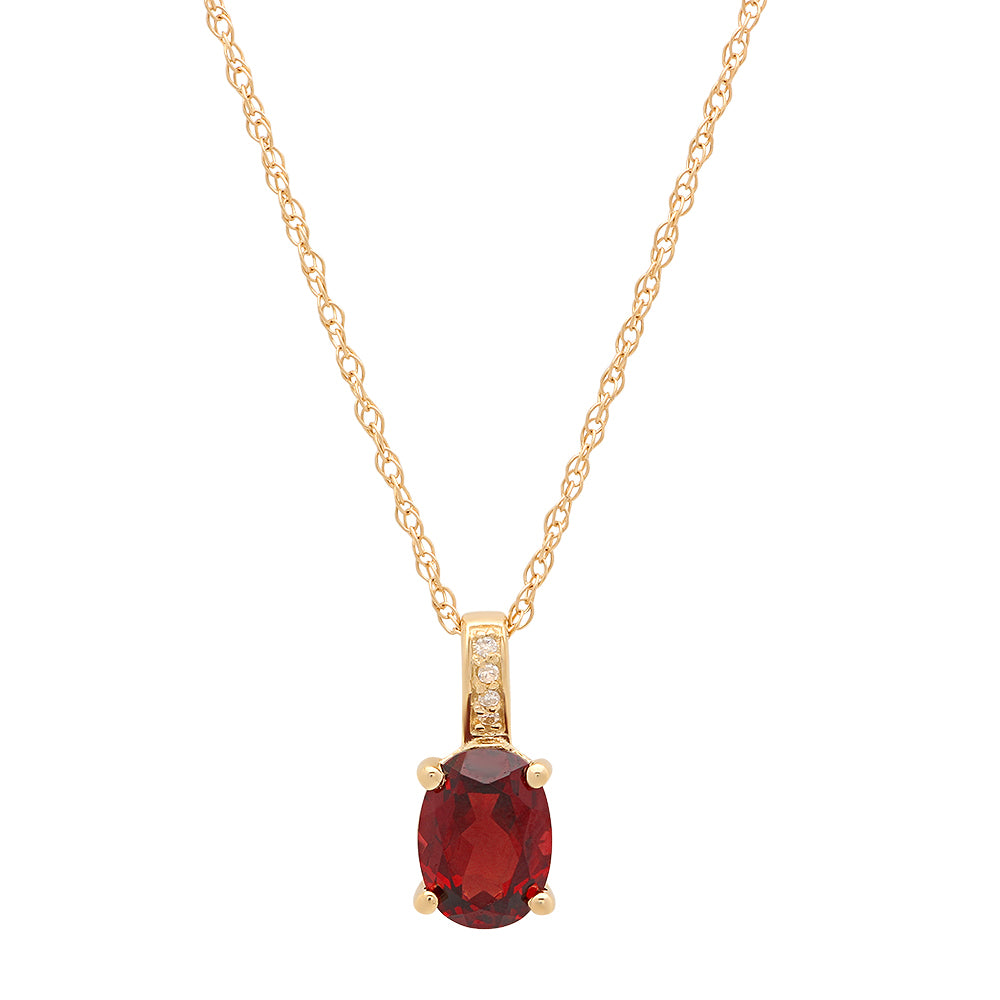 14K Yellow Gold Oval Garnet and Round Diamond Pendant with Chain