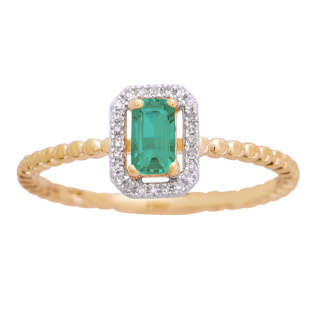 10K Yellow Created Emerald Cut Emerald Round Diamond Beaded Shank Ring