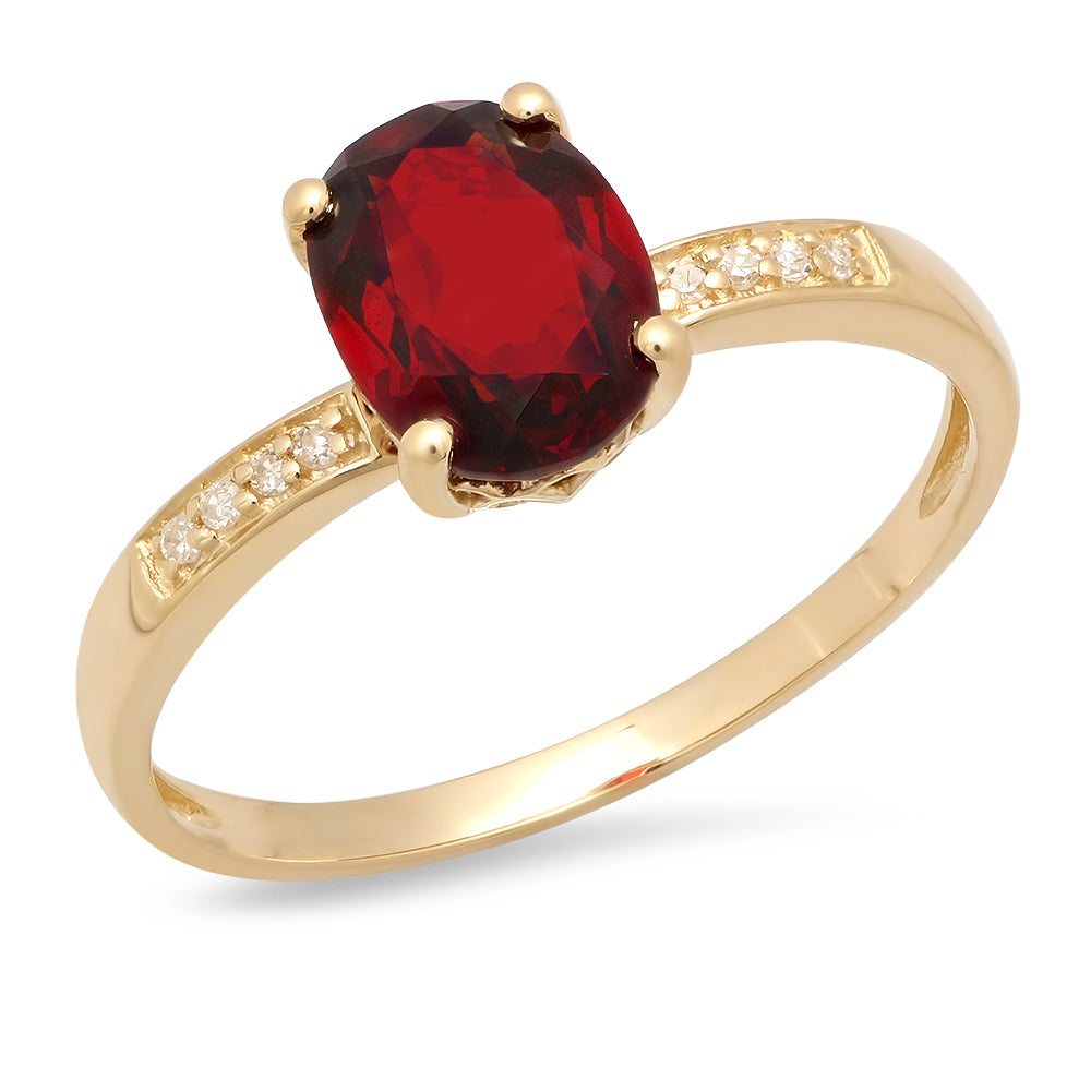14K Yellow Gold Oval Garnet and Round Diamond Ring