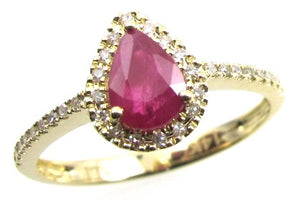 14K Yellow Gold Pear Shape Ruby & Round Diamond Halo Ring
