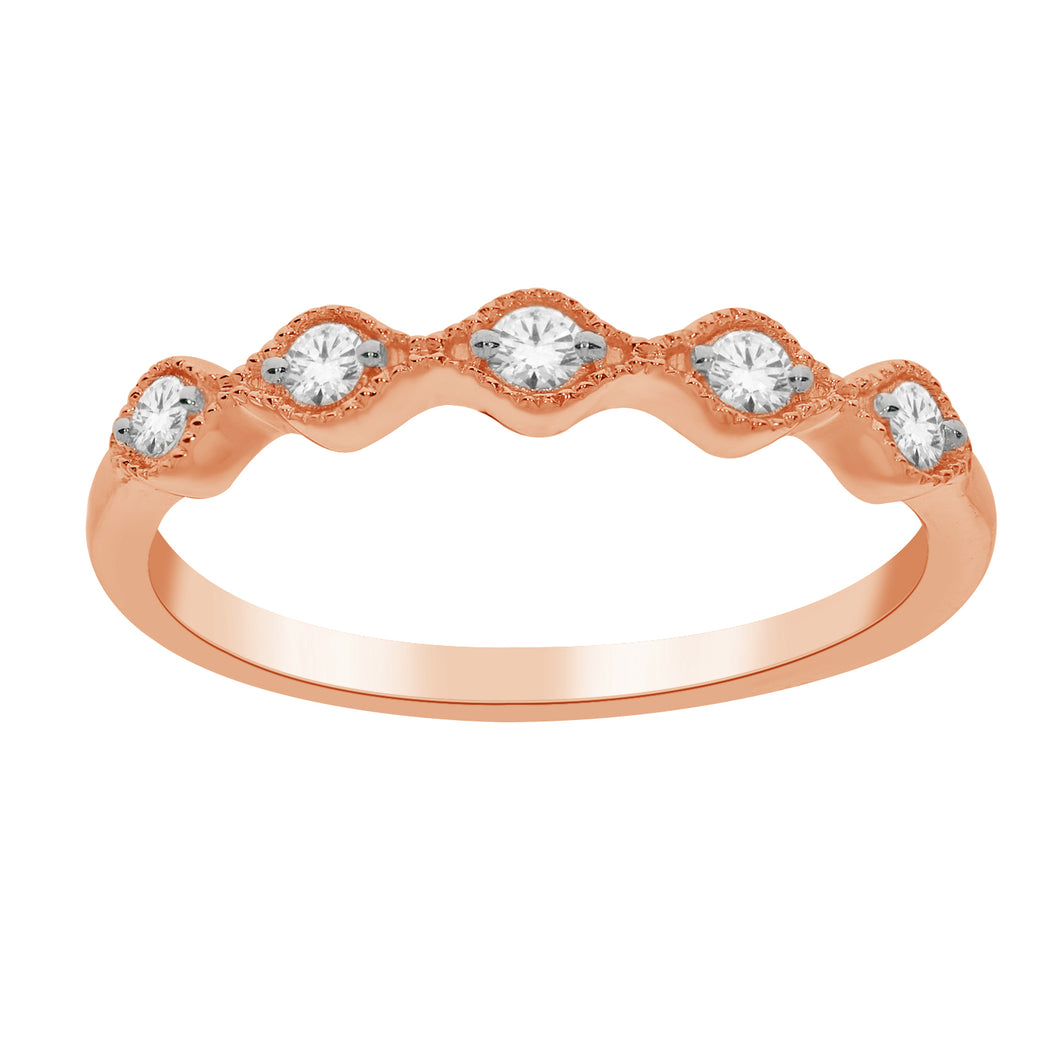 10K Rose Gold Round Diamond 1/8CT Milgrain Stackable Ring