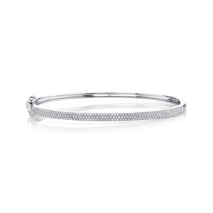 14K White Gold Round Diamond 1/2CT Bangle