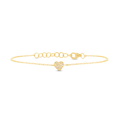 14K Yellow Gold Round Diamond Heart Bracelet