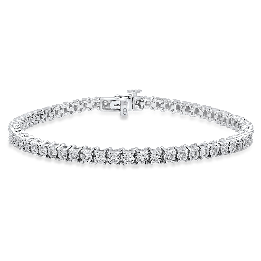 10K White Gold, Round Diamond 1CT Tennis Bracelet