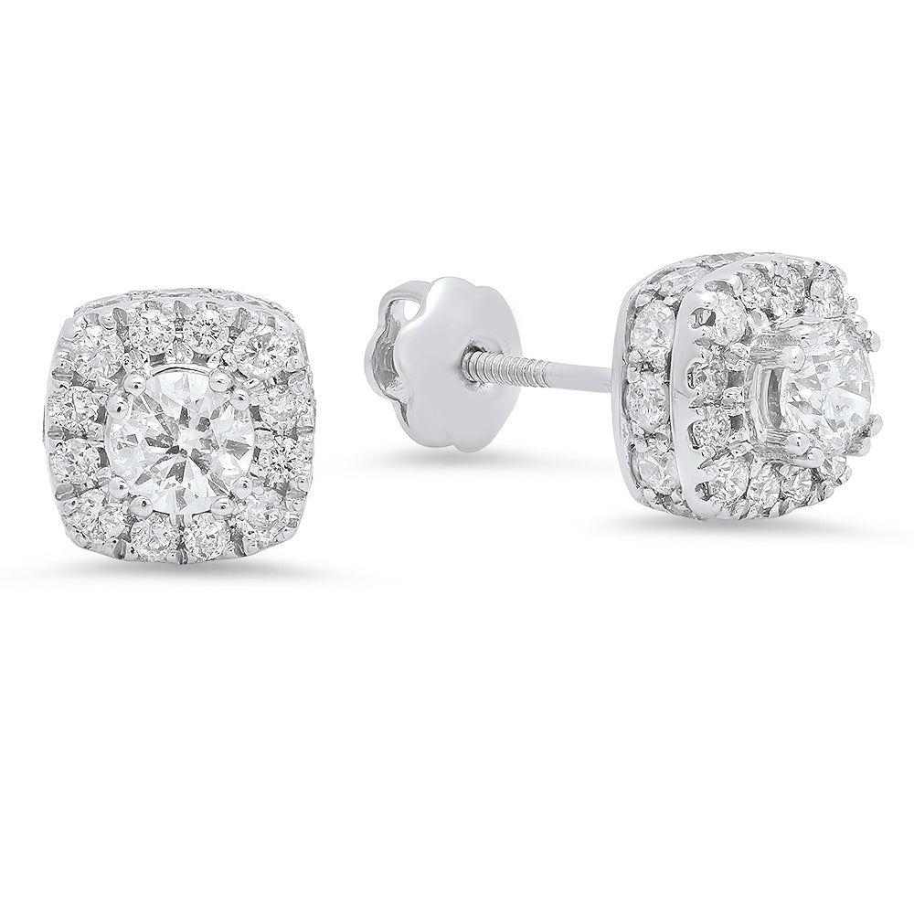 14K White Gold Round Diamond 1CT Cushion Shaped Halo Earrings