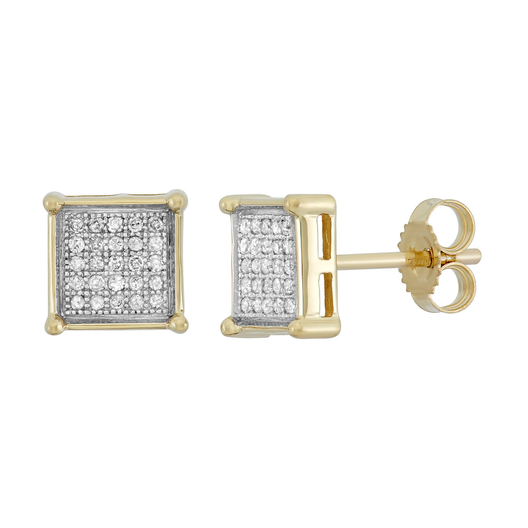 10K Yellow Gold Round Diamond 1/7CT Square Cluster Earrings