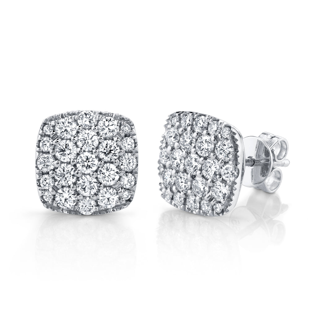 14K White Gold Round Diamond 1-1/10CT Pave Cluster Earrings