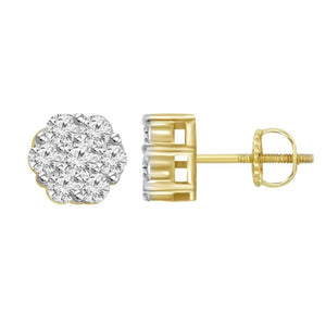 10K Yellow Gold Round Diamond 1/7CT Cluster Flower Earrings