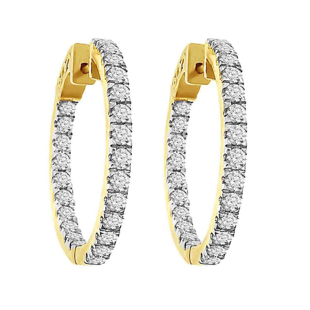 10K Yellow Gold Round Diamond 3CT Inside Out Large Hoop Earrings
