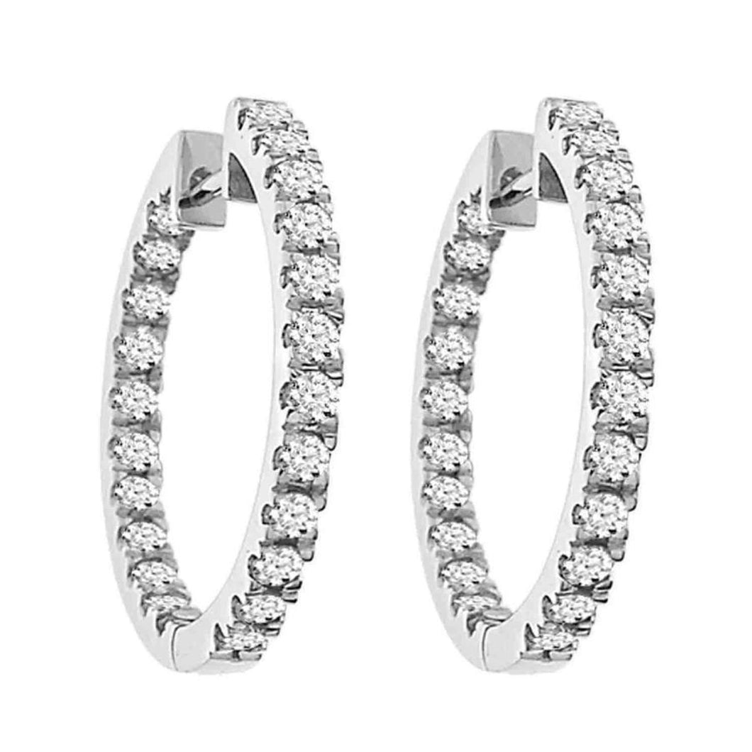 10K White Gold Round Diamond 1-1/2CT Hoop Earrings