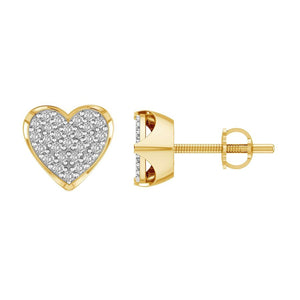 10K Yellow Gold Round Diamond 1/4CT Heart Earrings