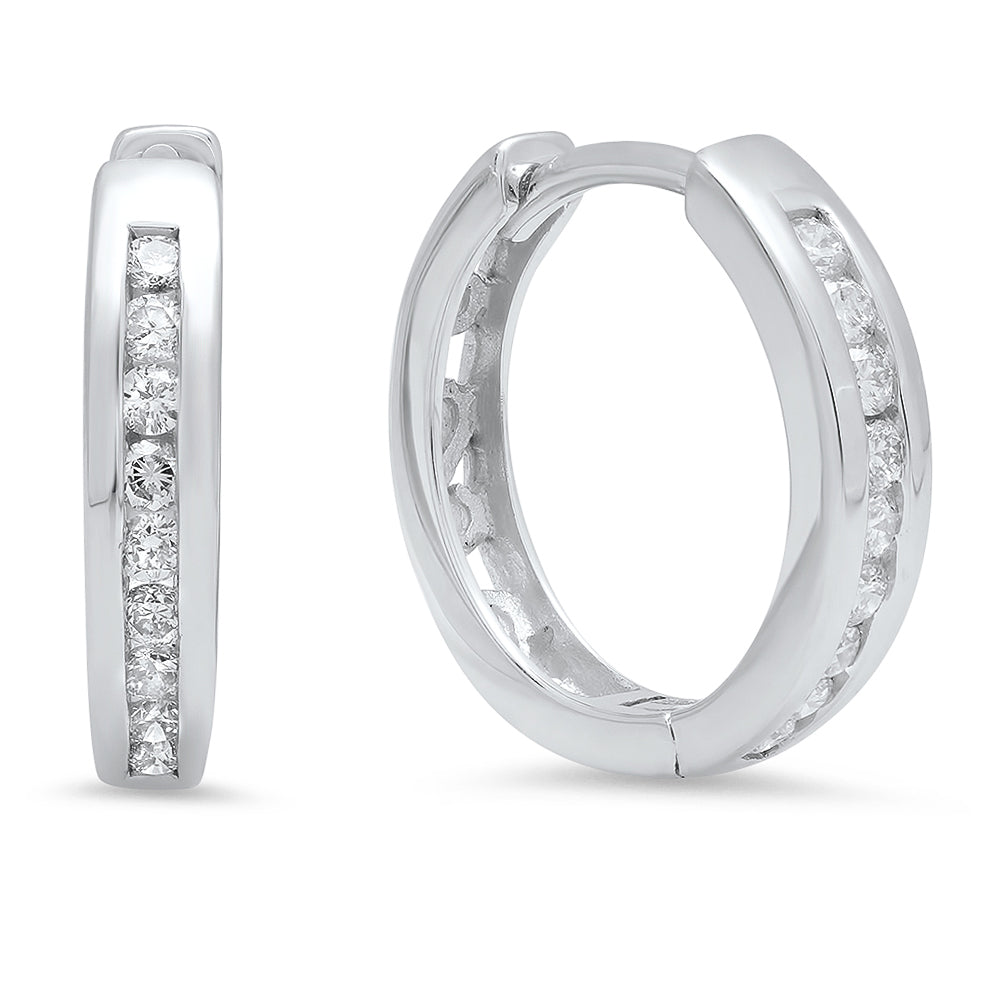 10K White Gold Round Diamond 1/4CT Channel Set Hoop Earrings