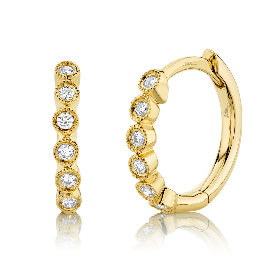 14K Yellow Gold Round Diamond 1/8CT Huggie Earrings