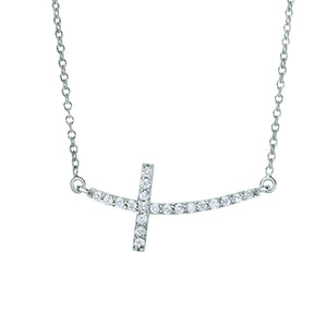 14K White Gold & Diamond Side Cross Necklace