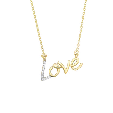 14K Yellow Gold & Diamond Love Necklace