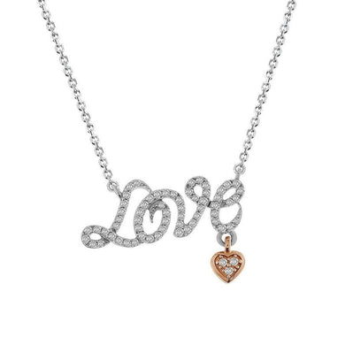 10K Two Tone Round Diamond 1/5CT Love Necklace with Dangling Pink Heart