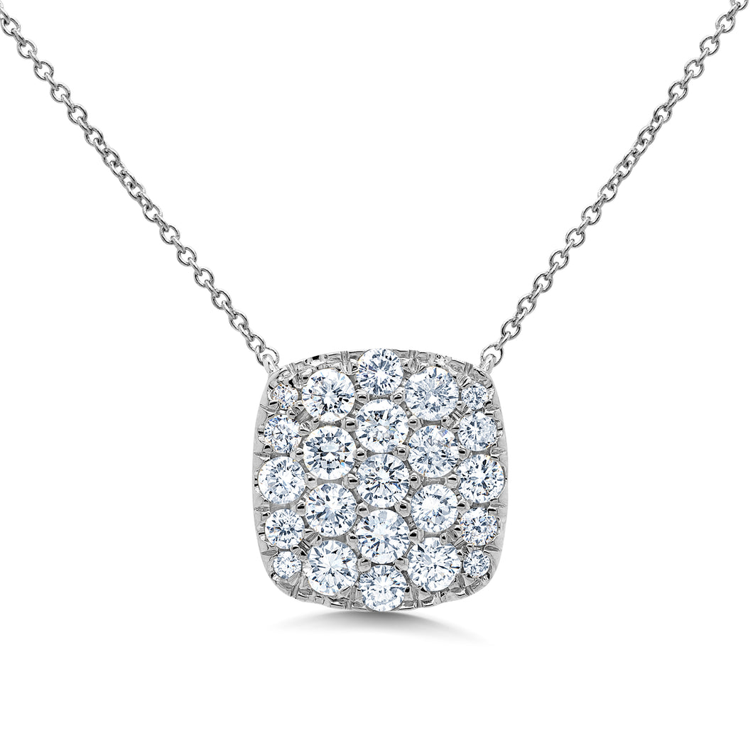 14K White Gold Round Diamond 1-1/10CT Pave Cluster Necklace