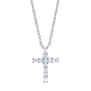 14K White Gold Round & Baguette Diamond 1/5CT Cross Necklace