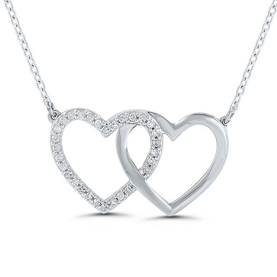 Sterling Silver Round Diamond 1/10CT Double Heart Necklace