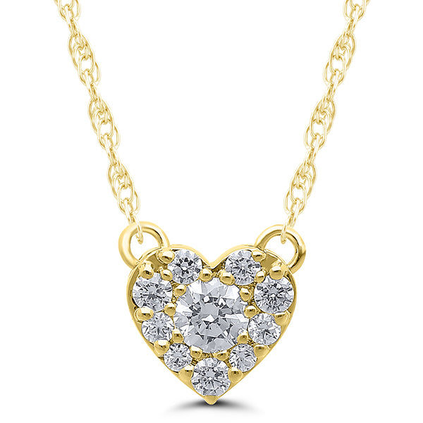 10K Yellow Gold Round Diamond 1/4CT Heart Cluster Necklace