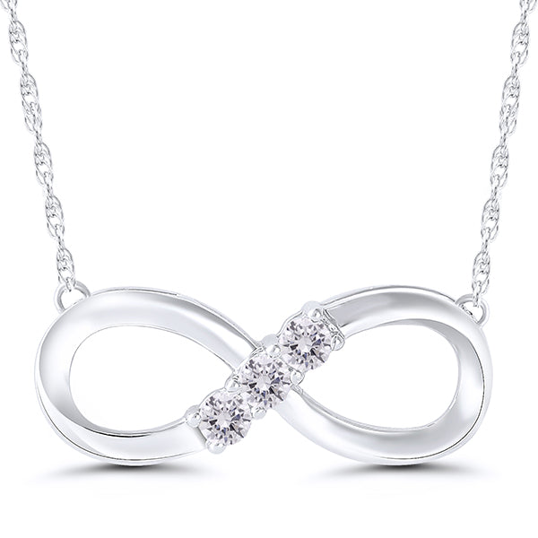 10K White Gold 3 Round Diamond 1/10CT Infinity Pendant