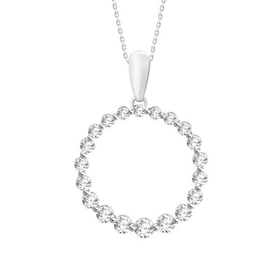 10K White Gold Round Diamond 1/4CT Graduated Circle Pendant