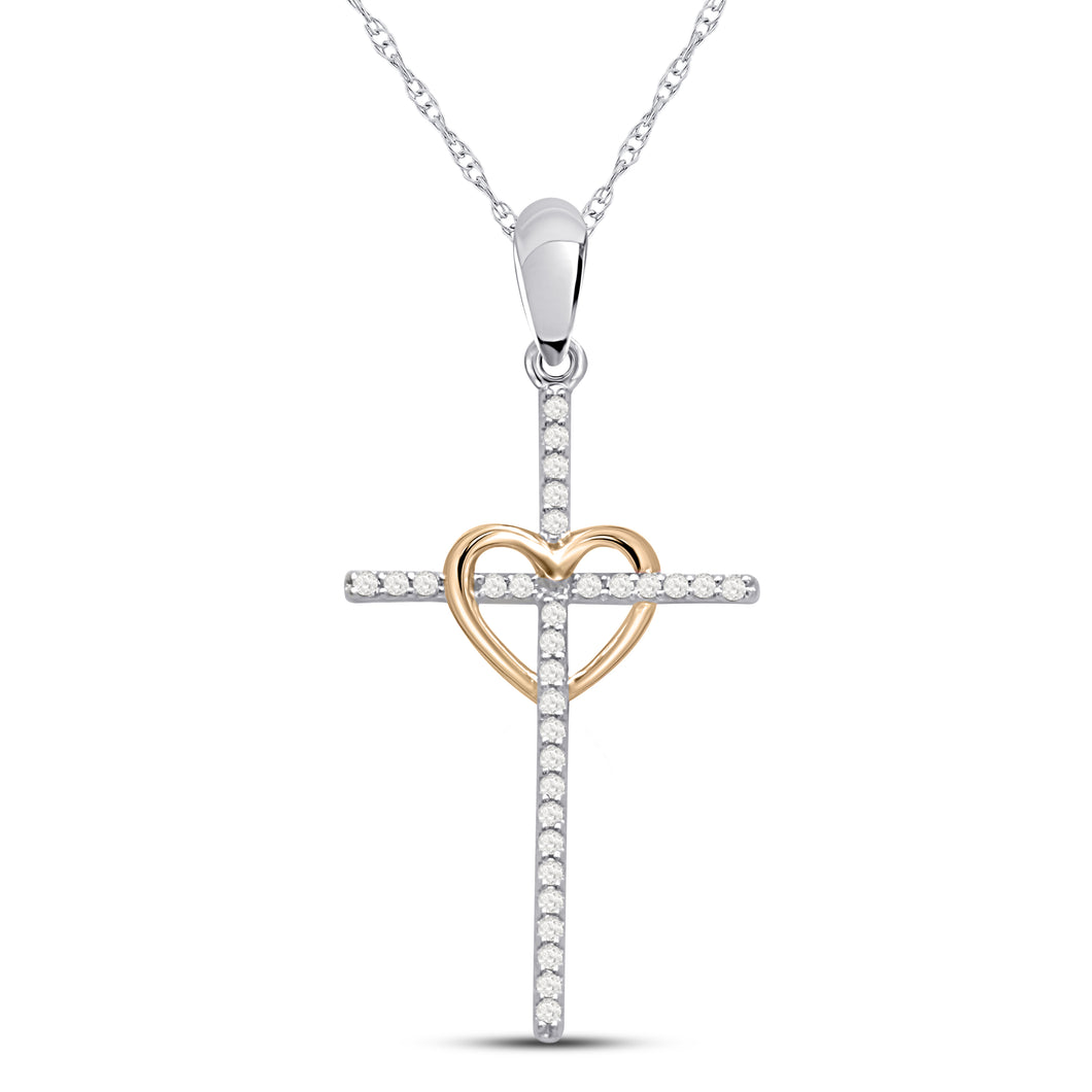 10K Two Tone Round Diamond 1/7CT Heart Center Cross Pendant