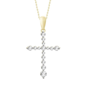 10K Yellow Gold Round Diamond 1/4CT Cross Pendant