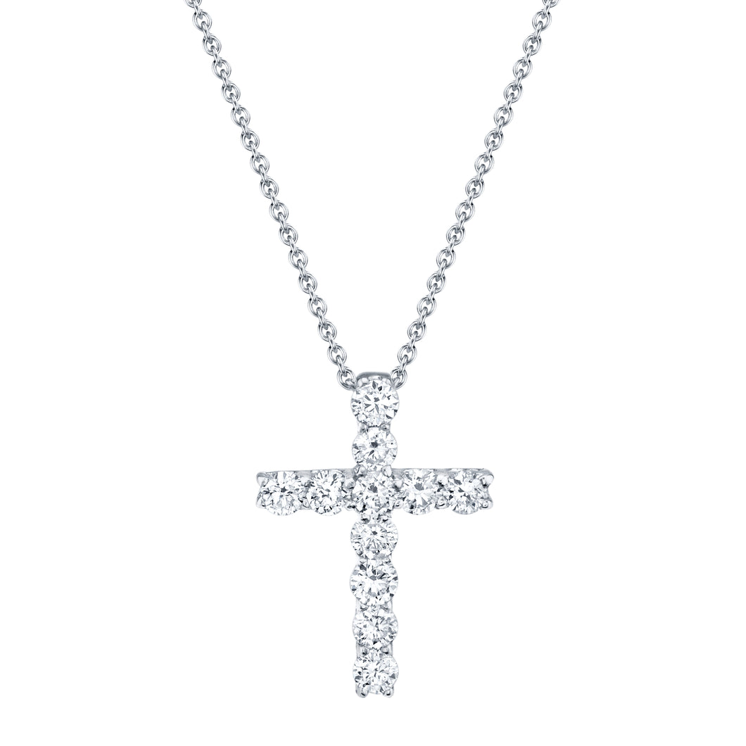14K White Gold Round Diamond 1/3CT Cross with Chain