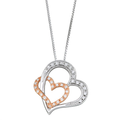 Two Tone Sterling Silver 1/5CT Double Heart Pendant with Chain