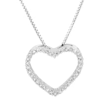 Load image into Gallery viewer, Sterling Silver Round Diamond 1/5CT Heart Pendant with Chain