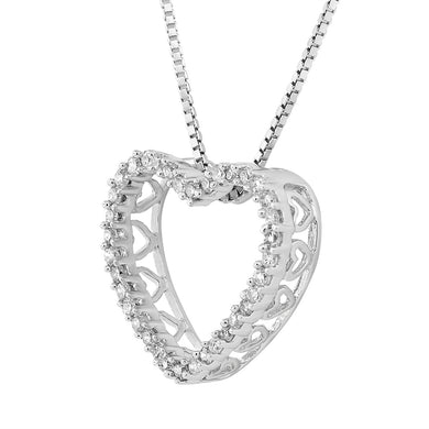 Sterling Silver Round Diamond 1/5CT Heart Pendant with Chain