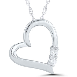10K White Gold Round Diamond 1/10CT Heart Pendant with Chain