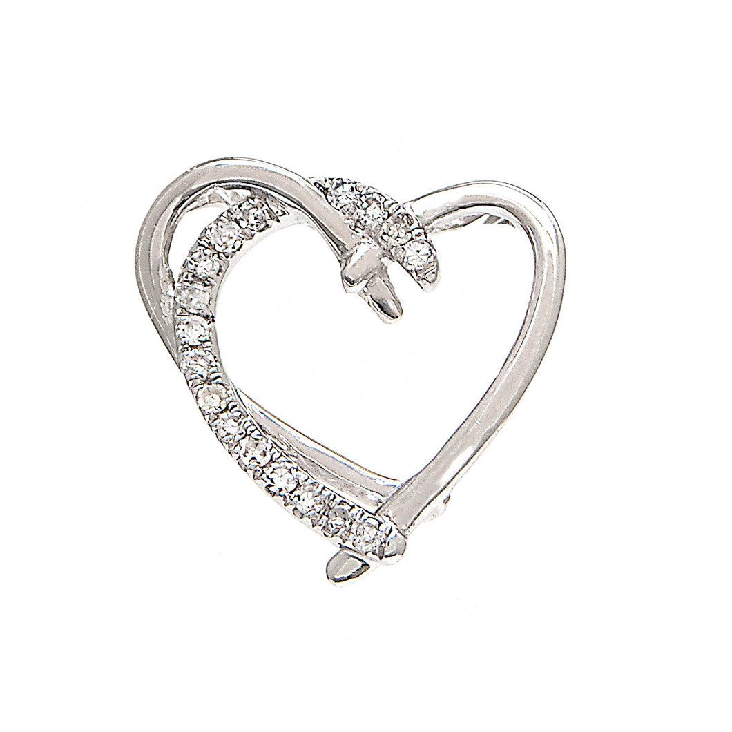 14K White Gold Round Diamond Open Heart Pendant with Chain