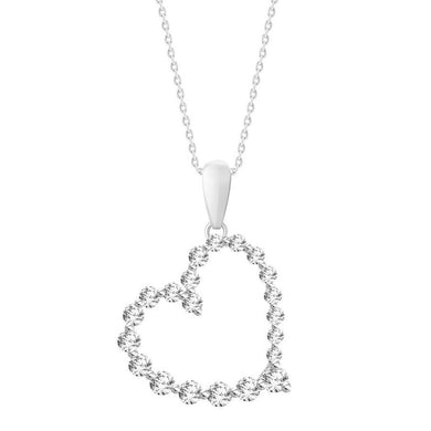 10K White Gold Round Diamond 3/4CT Graduated Heart Pendant
