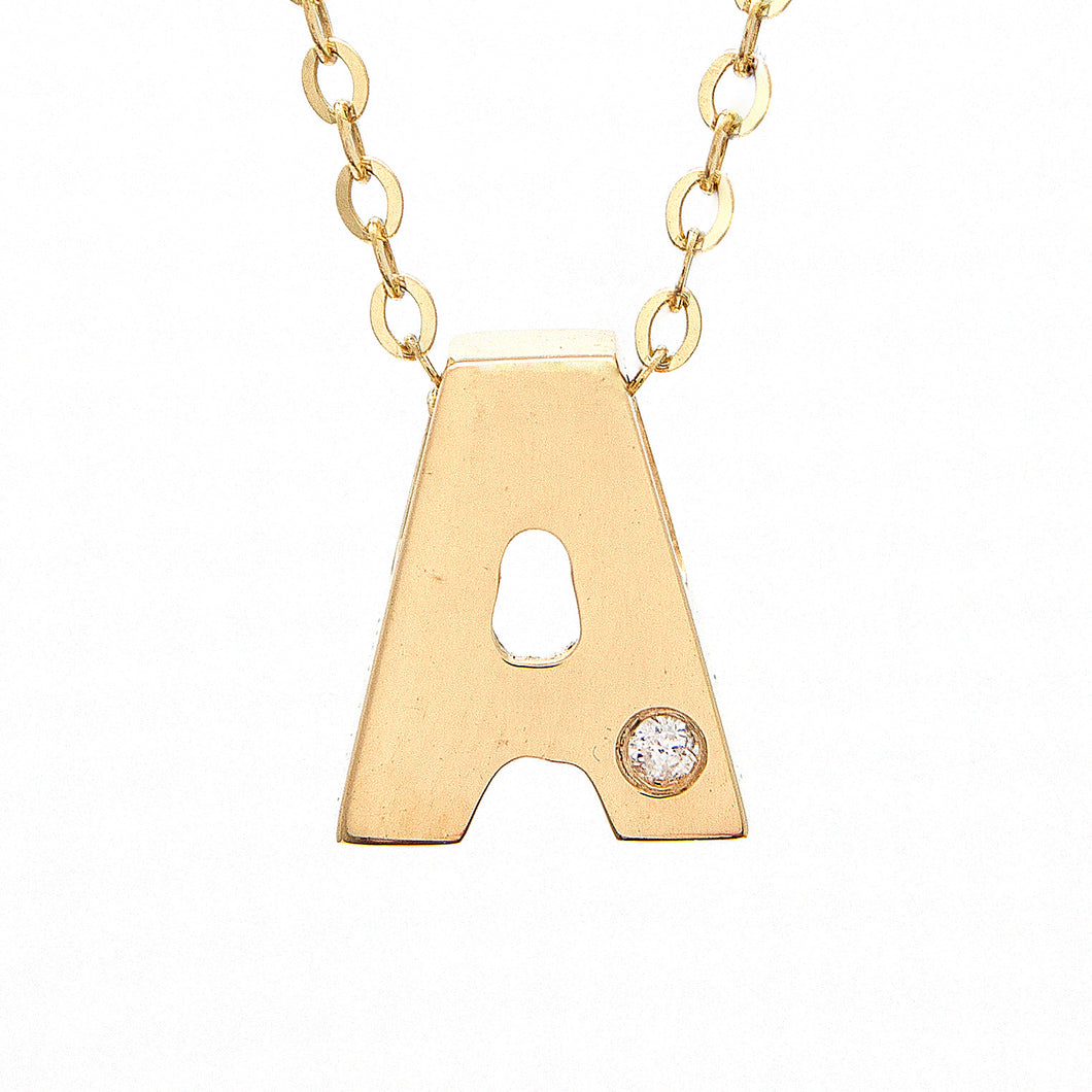 14K Yellow Gold Round Diamond Initial Necklace