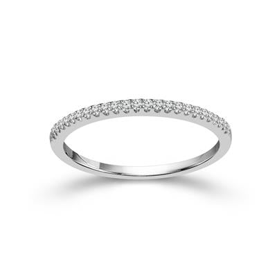 10K White Gold Round Diamond 1/10CT Stackable Band