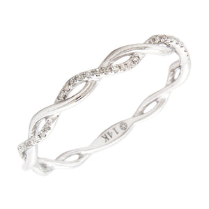 14K White Gold Round Diamond Twisty Shank Ring
