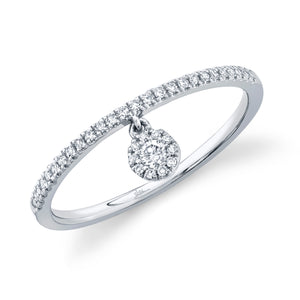 14K White Gold Round Diamond 1/7CT Ring with Hanging Round Cluster