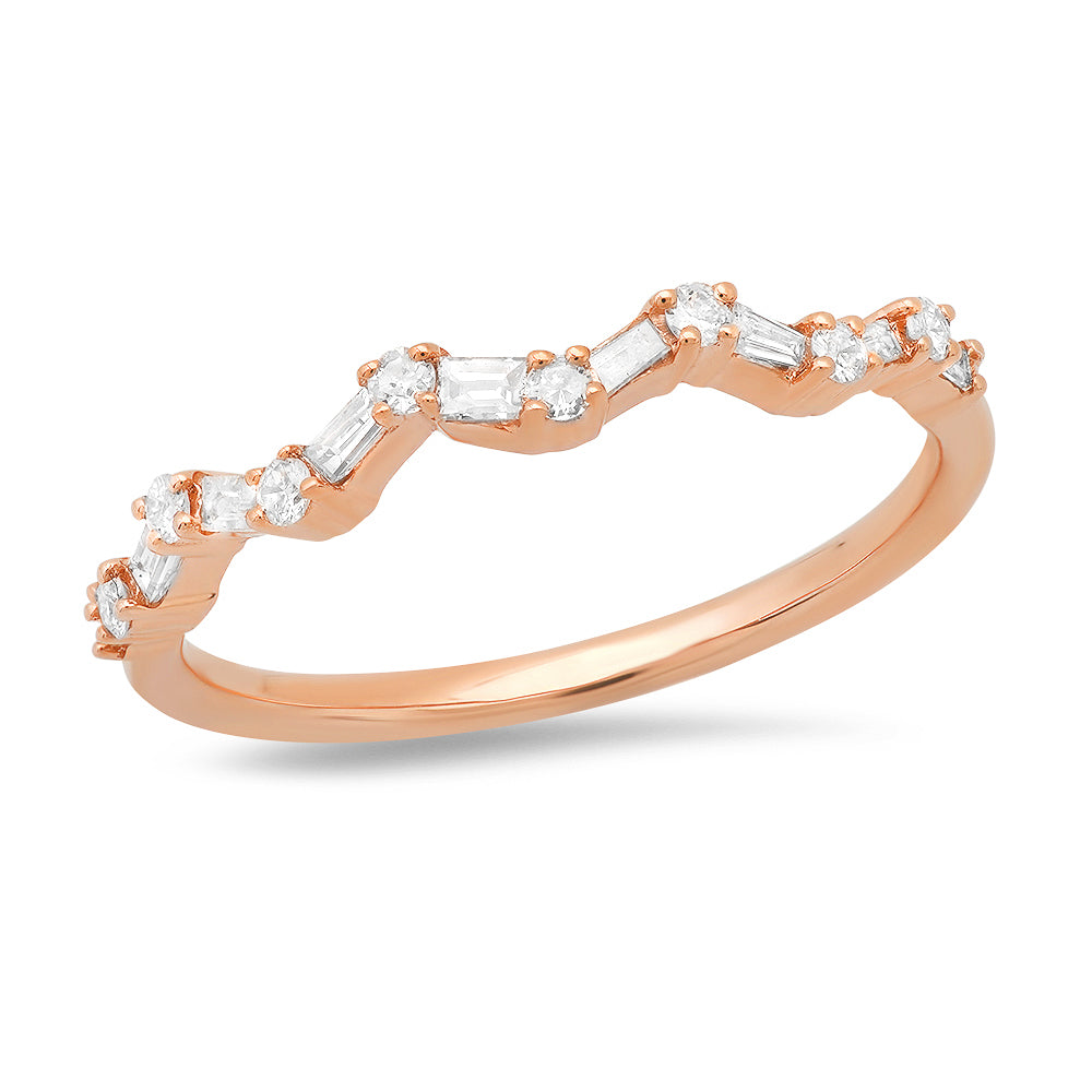 14K Rose Gold Baguette & Round Diamond 1/4CT Ring