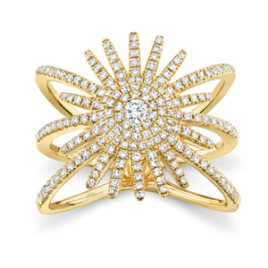 14K Yellow Gold Round Diamond 5/8CT Sun Burst Cocktail Ring