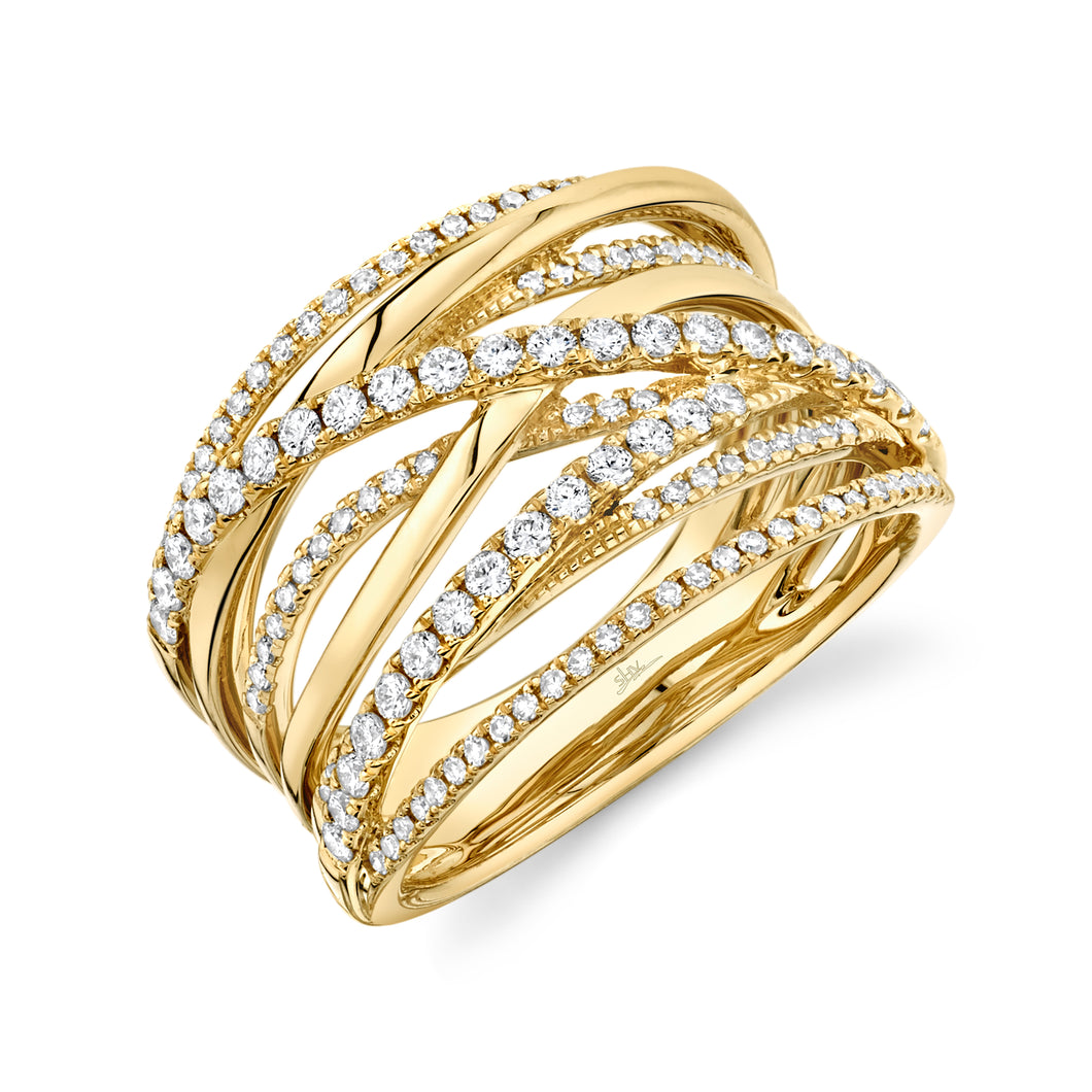 14K Yellow Gold Round Diamond 5/8CT Cross Rows Fancy Ring