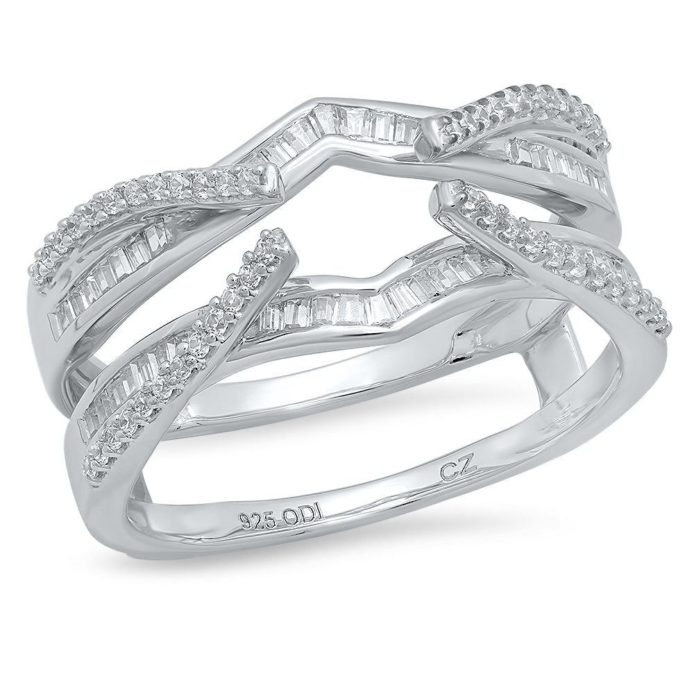 10K White Gold, Baguette and Round Diamond 1/2CT Channel and Prong Set Ring Guard