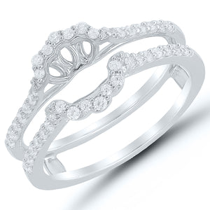 10K White Gold Round Diamond 3/8CT Ring Guard
