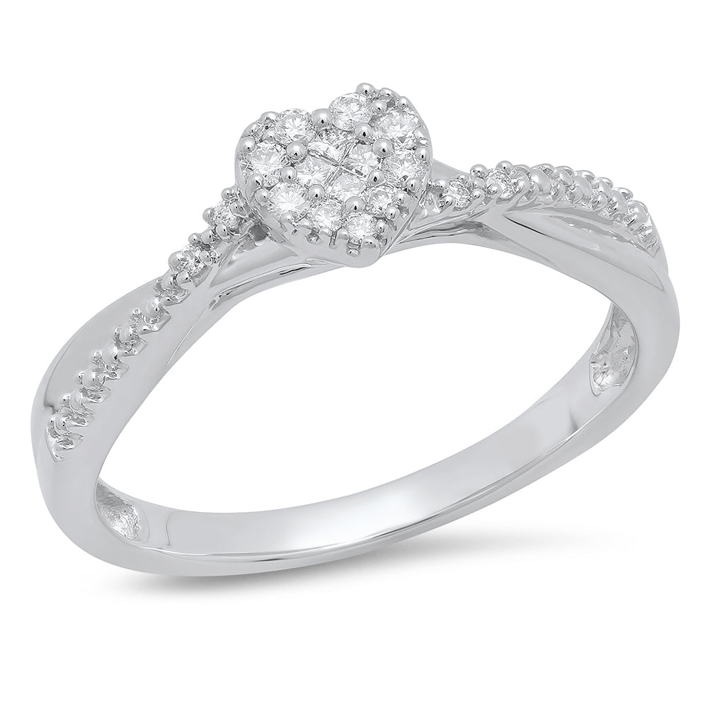 10K White Gold 1/8CT Princess and Round Diamond Heart Ring