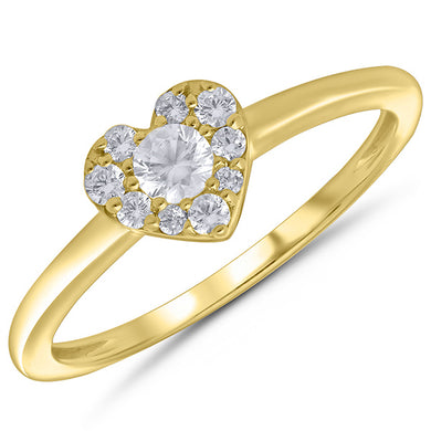 10K Yellow Gold Round Diamond 1/4CT Cluster Heart Ring